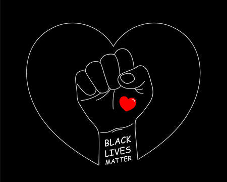 Hand symbol for black lives matter protest to stop violence to black people. Fight for human right of Black People. Vector illustration.