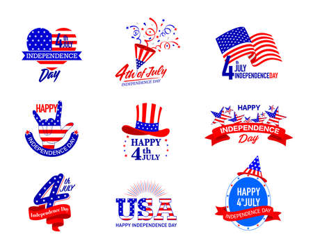 July fourth, United Stated independence day greeting. Vector illustration isolated on white background. Illustration