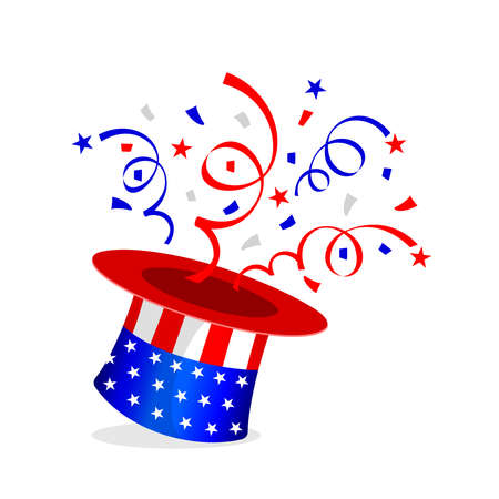 Red and blue paper shoot นut of the hat. Celebrating fourth of july independence day, United States.  illustration.