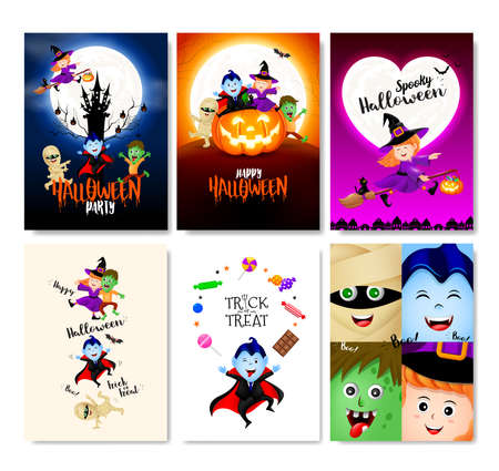 Halloween cartoon character greeting card, flyer, banner, poster templates set. Vector illustration. Perfect for party invitation. Illustration