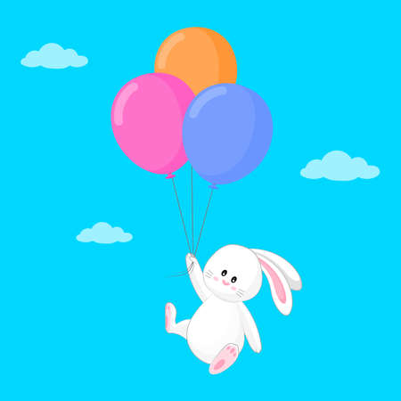 Cute rabbit flying with balloons to the sky. Cute cartoon bunny for baby shower card, greeting card, kids cards for birthday poster or banner, cartoon invitation. Vector illustration.