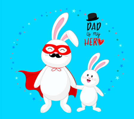 Super dad and child. Happy father's day. Dad is my hero concept. Cute cartoon character design. Vector illustration.