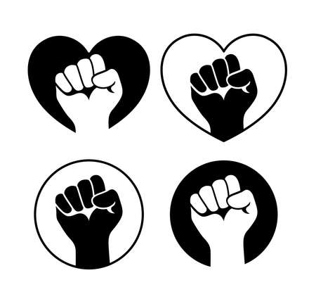 Raised fist set black icon design. Hand symbol for black lives matter protest to stop violence to black people. Vector illustration.