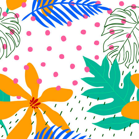 Collage contemporary floral seamless pattern. Modern exotic jungle plants. vector illustration design.