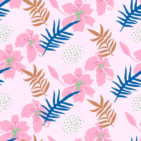 Seamless pattern with lilly and leaves. Tropical camouflage print. Great for textiles, banners, wallpapers, wrapping. Vector illustration design.