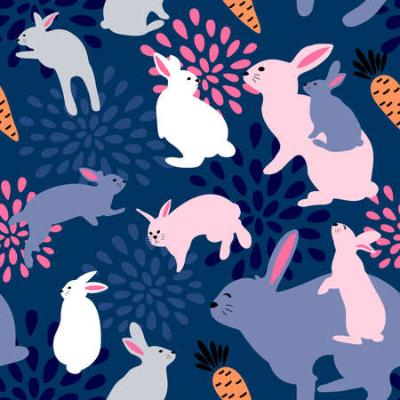 Cute easter bunnies seamless pattern. Great for textiles, banners, wallpapers, wrapping. Vector illustration design.