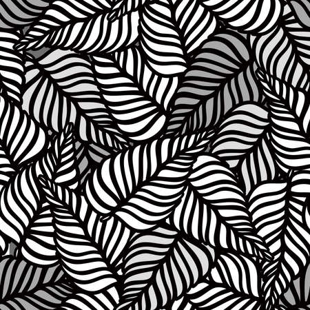 black and white leaves seamless pattern. Tropical camouflage print. Great for textiles, banners, wallpapers, wrapping. Vector illustration design.