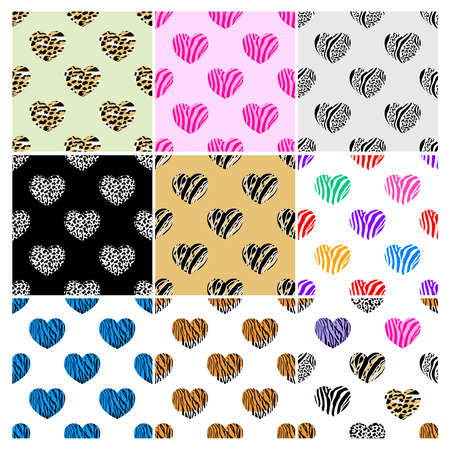Set of abstract animal print in heart shape. Wild animals seamless pattern. background texture. Modern abstract design for paper, cover, fabric and interior decoration. Illustration
