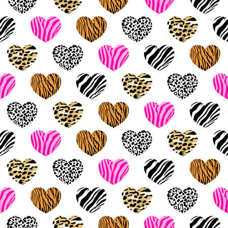 Abstract animal print in heart shape. Wild animals seamless pattern. background texture. Modern abstract design for paper, cover, fabric and interior decoration.