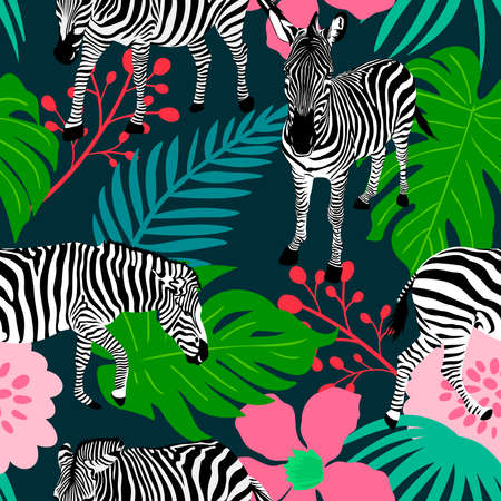 Collage contemporary floral and zebra seamless pattern. Modern exotic jungle plants. vector illustration design.