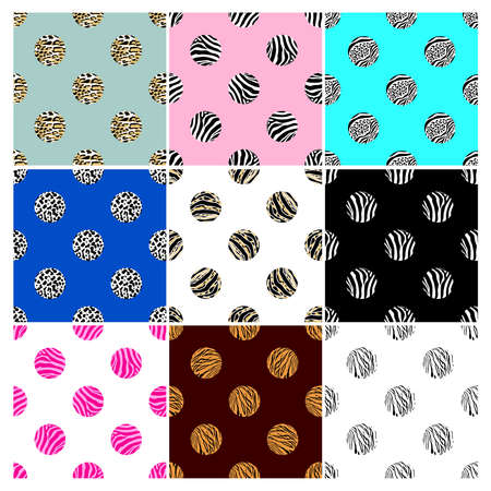 Set of abstract animal print in circle shape. Wild animals seamless pattern. background texture. Modern abstract design for paper, cover, fabric, interior decor.