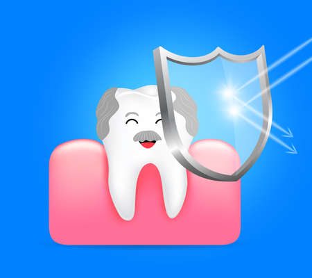 Healthy tooth and gum with shield. Anti-caries protection, dental care concept. Illustration on blue background. Ilustração