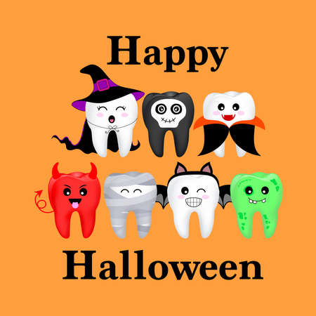 Cartoon spooky tooth in Halloween costumes. Trick or treat, Happy Halloween concept. Illustration isolated on orange background. Banco de Imagens - 155472780