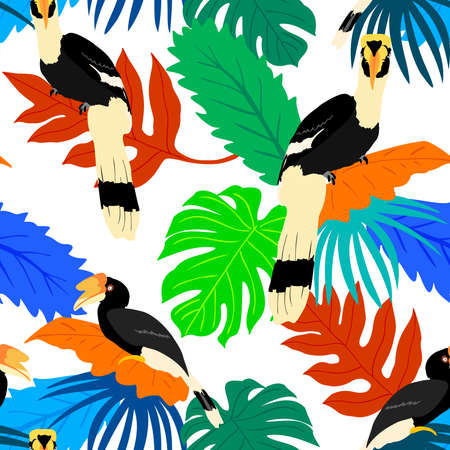 Exotic birds with tropical leaves seamless pattern. Tropical jungle foliage vector illustration. Summer beach design. Paradise nature.
