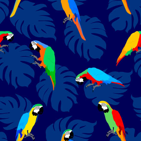Tropical leaves with macaw parrot. Animal seamless pattern. Modern exotic jungle plants. vector illustration design.