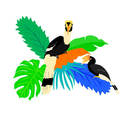 Exotic birds with tropical leaves. Tropical jungle foliage vector illustration. Summer beach design. Paradise nature.