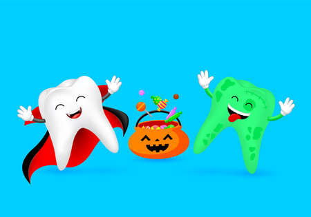 Cartoon spooky tooth with candies. Trick or treat, Halloween concept. Illustration isolated on blue background. Ilustração