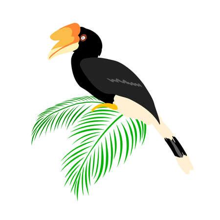 Exotic birds with tropical leaves. Tropical jungle foliage vector illustration. Summer beach design. Banco de Imagens - 155472812