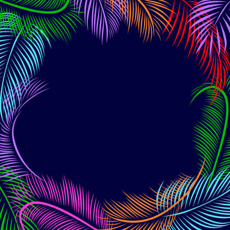 Frame of colorful palm tree leaves. Vector illustration. Nature organic. Copy space in the middle. Banco de Imagens - 155472813
