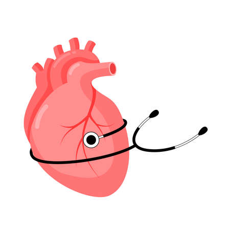 Abstract human heart with stethoscope. health care concept. Vector illustration. Ilustração