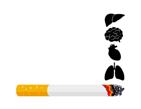 Smoking is harmful to human organs. Resulting in organ damage and premature. Illustration.