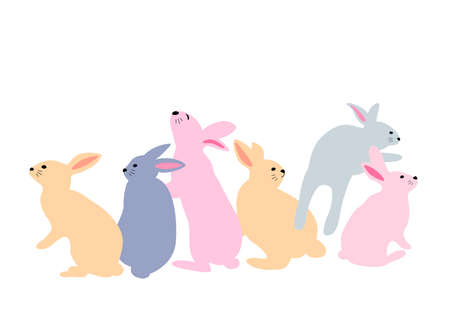 Set of cute bunny. Easter day design concept. Vector illustration for greeting card, banner and poster.