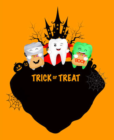Funny cute cartoon tooth character. Dracula, mummy and zombie. happy Halloween concept. Design for banner, poster, greeting card. Illustration. Illusztráció
