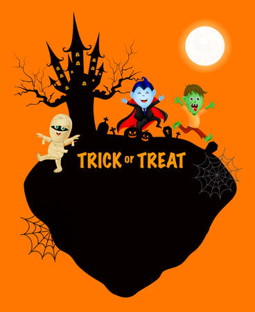 Funny cute cartoon character. Count dracula, zombie and mummy in moon night. happy Halloween concept. Design for banner, poster, greeting card. Illustration.