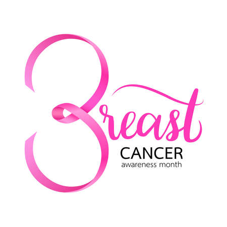 Pink ribbon curve in breast shape. Breast Cancer Awareness Month Campaign. Icon design. Vector illustration isolated on white background. Stock fotó - 155472824
