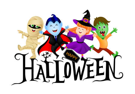 Happy Halloween lettering design with cute cartoon character. Holiday calligraphy with little witch, dracula, mummy and zombie. Illustration for poster, banner, greeting card, invitation. Banco de Imagens - 155472825