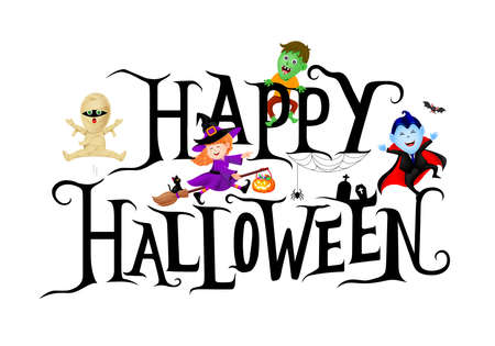 Happy Halloween lettering design with cute cartoon character. Holiday calligraphy with little witch, dracula, mummy and zombie. Illustration for poster, banner, greeting card, invitation. Banco de Imagens - 155472827