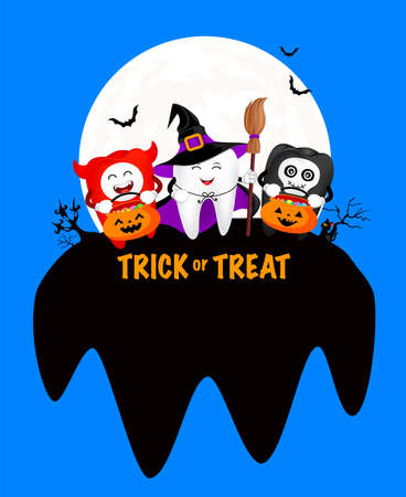 Funny cute cartoon tooth character. Witch, devil and skull. Happy Halloween concept. Design for banner, poster, greeting card. Illustration.