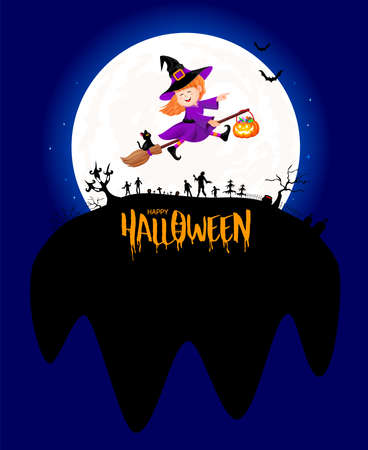 Funny cute cartoon character. A little witch in moon night. happy Halloween concept. Design for banner, poster, greeting card. Illustration. Banco de Imagens - 155472836