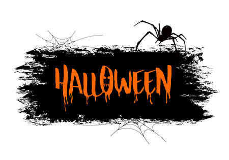 Halloween lettering design. Holiday calligraphy with spider and web. Happy Halloween concept. Illustration for poster, banner, greeting card, invitation. Banco de Imagens - 155695762