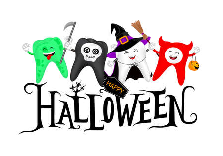 Halloween lettering design with cute cartoon tooth character. witch, devil, skull and zombie, happy Halloween concept. Design for banner, poster, greeting card. Illustration.