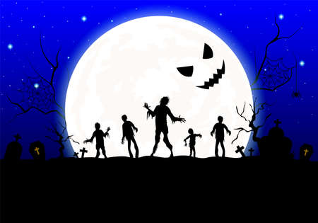 Halloween background design. Silhouette zombies with moon light. Illustration design for greeting card, poster banner and greeting card.