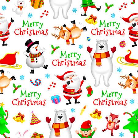 Christmas cute cartoon seamless pattern. Santa, deer, snowman, bear, rabbit, fox and little elf. illustration on white background. Merry Christmas concept.