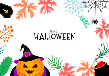 Funny cute cartoon pumpkin witch character. Trick or treat, happy Halloween concept. Design for banner, poster, greeting card. Illustration.