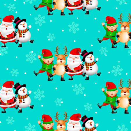 Christmas cute cartoon seamless pattern. Santa, deer, snowman and little elf. illustration on blue background. Merry Christmas concept.