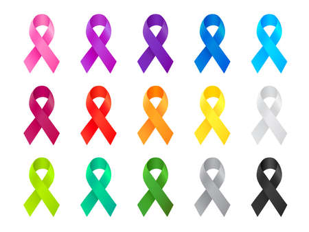 Cancer Ribbon. Awareness ribbon different color set. International Day of cancer, World Cancer Day. Vector illustration design. Banco de Imagens - 156259391