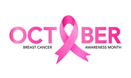 October breast cancer emblem sign for awareness month with pink ribbon symbol. Illustration.