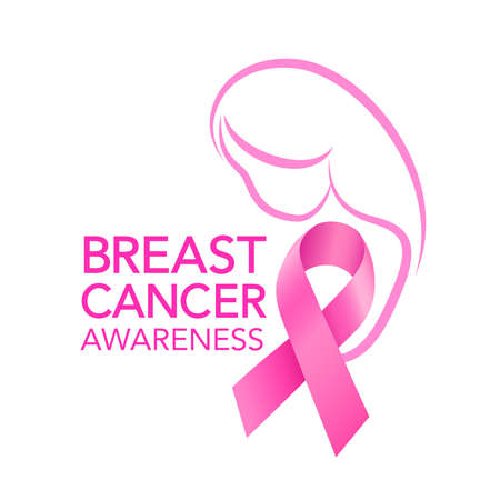 Pink ribbon symbol graphic design. Breast Cancer Awareness Month Campaign. Icon design. For poster, banner and t-shirt. Vector Illustration. Banco de Imagens - 156315624