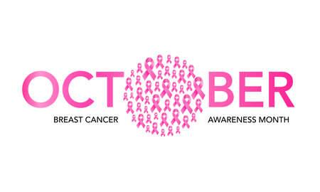 October breast cancer emblem sign for awareness month with pink ribbon symbol. Illustration. Banco de Imagens - 156315302