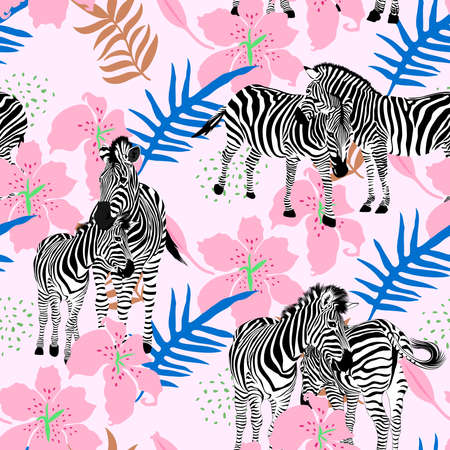 Zebras seamless pattern with lilly and leaves. Tropical camouflage print. Great for textiles, banners, wrapping. Vector illustration design. Ilustração
