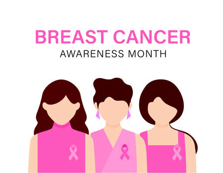 The power to fight breast cancer, women wearing pink ribbons for breast cancer campaign. Cartoon character design. Vector illustration. Ilustração