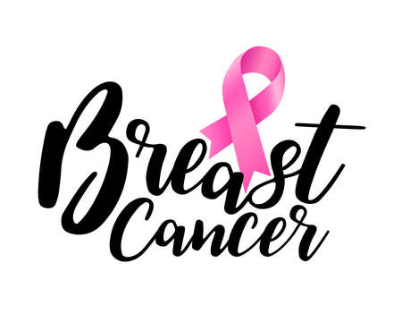 Breast cancer awareness lettering design with pink ribbon. Vector illustration for poster, banner and t-shirt.