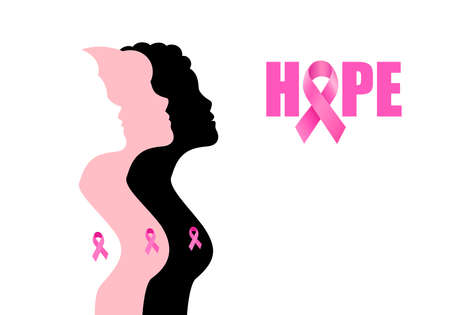 Pink ribbon symbol on woman breast. Breast Cancer Awareness Month Campaign. Design for poster, banner, t-shirt. Vector illustration Ilustração