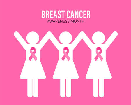 Breast Cancer Awareness Month Campaign. Women graphic with pink ribbon symbol. Vector illustration