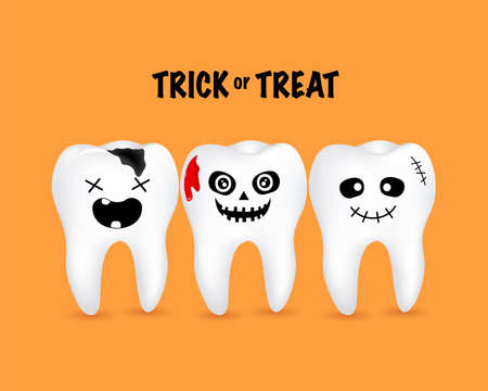 Scary cartoon tooth characters, Tooth with blood. Trick or Treat concept, Happy Halloween day,  illustration on orange background.