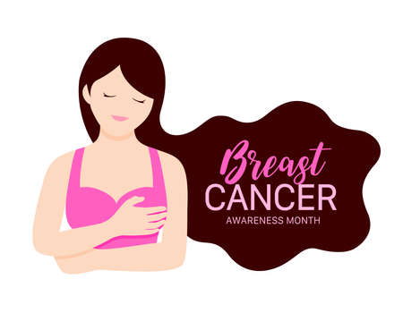 Woman holding her breast. Breast cancer awareness month concept. Cartoon character design. Vector ilustration. Ilustração